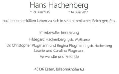 Hans Hachenberg ist verstorben